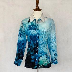 Soft Surroundings Silk Pattern Blouse